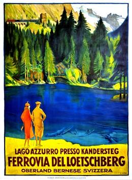 Lago azzurro presso Kandersteg – Ferrovia del Loetschberg – Oberland Bernese Svizzera, Ernst Hodel