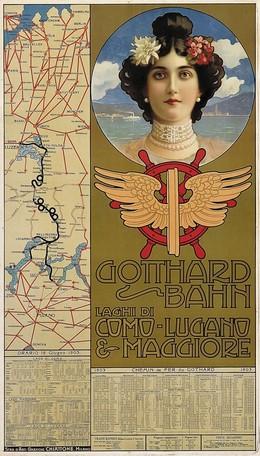 Gotthard Bahn – Laghi Maggiore, Como – Lugano & Maggiore, Artist unknown