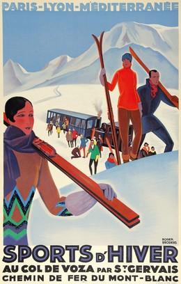 PLM SPORTS D'HIVER – Au Col de Voza par St. Gervais. Chemin de Fer du Mont-Blanc, Roger Broders