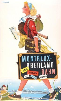 Montreux-Oberland Bahn – Luzern Interlaken Gstaad Château d'Oex Montreux, Herbert Leupin