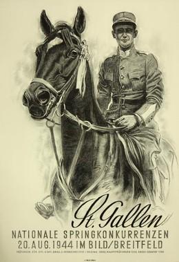 Nationale Springkonkurrenzen St. Gallen, 20. August 1944 im Bild / Breitfeld, Iwan Edwin Hugentobler