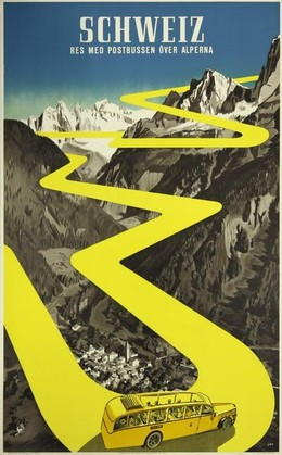 Schweiz – Res med postbussen över Alperna, Herbert Berthold Libiszewski