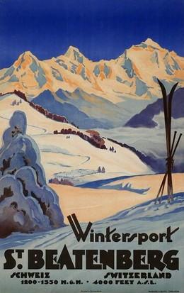 Winter sports at St. Beatenberg Switzerland, Artist unknown