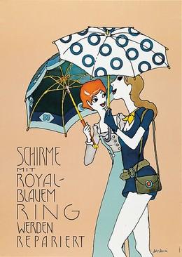 Schirme mit royal-blauem Ring werden repariert, Balz Baechi
