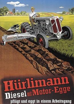 Hürlimann Diesel mit Motor-Egge, Artist unknown