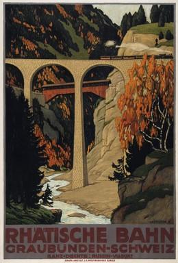 RHÄTISCHE BAHN Graubünden-Schweiz – Ilanz-Disentis: Rusein-Viadukt, Ernst Emil Schlatter