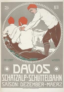 DAVOS – Schatzalp-Schlittelbahn – Saison: Dezember-März – 3,4 km – am Start, Walther Koch